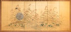 Japanese Screen: Moon and Wild Grasses on Gold | From a unique collection of antique and modern paintings and screens at http://www.1stdibs.com/furniture/asian-art-furniture/paintings-screens/
