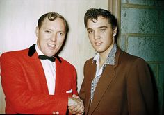 The ORIGINAL: This photo by Tommy Edwards shows Elvis Presley shaking hands with Bill Haley at Brooklyn High School Auditorium in Cleveland, OH on Thursday, October Elvis Presley, Rock And Roll, Rock N, U2 Zooropa, Tommy Edwards, Bill Haley, Rock Around The Clock, Young Elvis, Star Wars