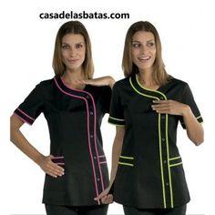 Casaca Brasilia con detalle de color- Varios colores Cleaning Uniform, Dental Uniforms, Salon Uniform, Scrubs Uniform, Cute Aprons, Medical Scrubs, Scrub Tops, Costume, Work Wear