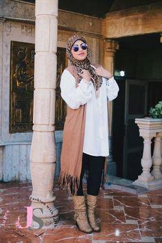 fringe tan vest hijab look, Winter hijab fashion from Egypt http://www.justtrendygirls.com/winter-hijab-fashion-from-egypt/