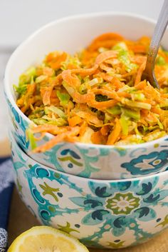 Sweet Potato Noodles and Brussels Sprouts Salad with Lemon Tahini Dressing | quick cooking healthy sweet potato noodle salad for October Unprocessed.