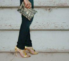 Snake Print Genuine Leather Zipper Clutch Bag. $45.00, via Etsy.