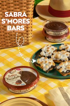 Get a taste of camping with Sabra S'Mores Bars without having to sleep in tent. All you'll need are graham crackers, sugar, melted butter, cinnamon, marshmallows, and of course – Sabra Dark Chocolate Dessert Dip & Spread. Bite into our version of a summer treat at your picnic, and you'll definitely be a happy (at-home) camper. I Love Food, Good Food, Yummy Food, Snack Recipes, Dessert Recipes, Cooking Recipes, Dinner Recipes, Healthy Sweets, Healthy Snacks