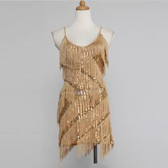 Gold Beige Sequin Tassel Ballroom Dancing Cocktail Party Clothing Store SKU-401331