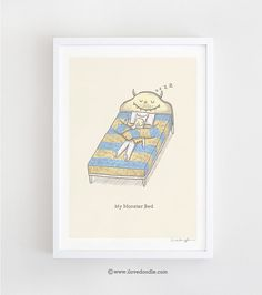 My monster bed  Art print by ilovedoodle on Etsy, $30.00