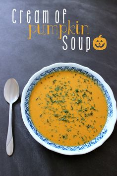 Cream of Pumpkin Soup -- A creamy, savory pumpkin soup. Substitute the chicken broth with vegetable broth to make it vegetarian.
