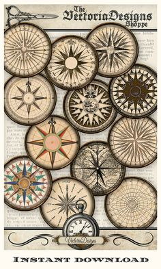 This Victorian artwork is a hand drawn digital download. It includes 12 different beautifully detailed  compass designs on a collage sheet. #ad #etsyshop #craft