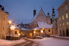 Slovak street at Christmas.so pretty! Slovak Recipes, Journey's End, Heart Of Europe, Eastern Europe, Homeland, Romania, Places To Go, Traditional, Mansions