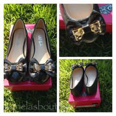 Black and gold ballerina flats Sizes 11-3  $13.00