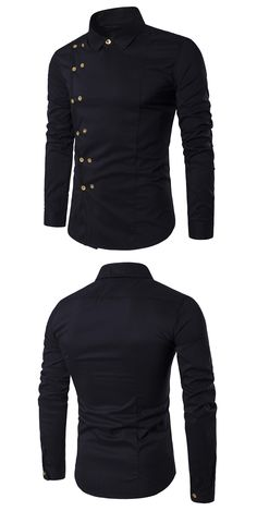 Turndown Collar Double Breasted Long Sleeve Shirt - Black 2xl