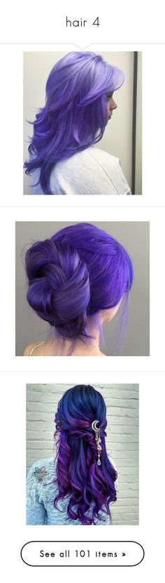 """""""hair 4"""" by lulu-dusk on Polyvore featuring accessories, hair accessories, purple hair accessories, beauty products, haircare, hair styling tools, hair, hair color, tops and get lost"""