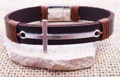 Cross Bracelet Leather Bracelet Men's leather by SnowyOwlsNest