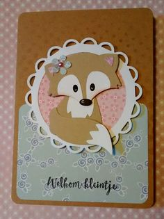Handmade baby card with a fox.(Marianne Design) Created by netsoojmik Cat Cards, Kids Cards, Baby Toy Storage, Marianne Design Cards, Animal Cards, Card Tags, Handmade Baby, Design Crafts, Scrapbook Cards
