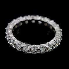 Engraved Vintage Style Approx. 2.26Ct Diamond Eternity Wedding Band Platinum 950 on Etsy, $3,999.00