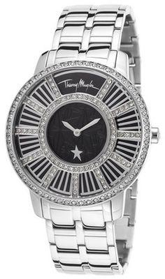 Thierry Mugler Women's Silver-Tone Steel Black dial