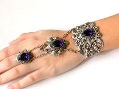 Swarovski  Crystal Slave Bracelet  - Victorian Gothic Jewelry - Purple Velvet Swarovski Silver Bracelethttp://www.etsy.com/listing/122855213/swarovski-crystal-slave-bracelet?ref=shop_home_active