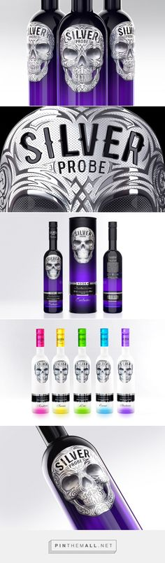 Silver Probee Vodka skull packaging designed by Akim Melnik Design Studio - http://www.packagingoftheworld.com/2015/07/silver-probee-vodka.html
