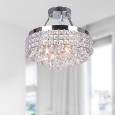 Nerisa 4-light Chrome Semi-flush Mount Crystal Chandelier - 15998618 - Overstock.com Shopping - Great Deals on The Lighting Store Chandeliers & Pendants
