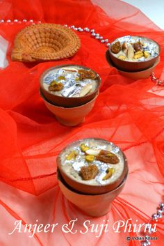 Anjeer Suji Phirni | ngredients: Dry Figs/Anjeer – 1/2 Cup [Chopped] Milk – 500 Liter / 3 Cups Ghee – 1 tsp Chiroti Suji/Rava/Semolina – 1/4 Cup [you can use regular rava too] Sugar – 1/2 Cup [ or to taste 3/4 to 1 Cup] Saffron – a pinch Cardamom Powder – 1/2 tsp Sliced Almonds & Pista – 3 tbsp Sliver Varq – For Garnishing [optional] -