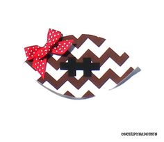 Chevron Print Football...Fabric Iron On Applique...Ribbon Included on Etsy, $3.50