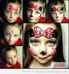 Simple face painting designs are not hard. Many people think that in order to have a great face painting creation, they have to use complex designs, rather then Minnie Mouse Face Painting, Disney Face Painting, Girl Face Painting, Face Painting Tips, Face Painting Tutorials, Face Painting Designs, Painting For Kids, Paint Designs, Mouse Paint