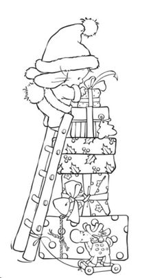 Nellie Snellen Christmas Time Stamp - Present Mountain Cute Coloring Pages, Christmas Coloring Pages, Adult Coloring Pages, Coloring Books, Christmas Images, Christmas Colors, Christmas Art, Xmas, Album Photo Scrapbooking