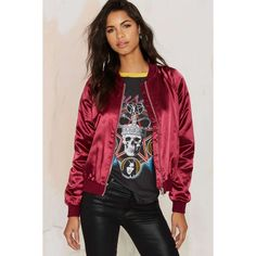 Satin Comfort Bomber Jacket ($88) ❤ liked on Polyvore featuring outerwear, jackets, red, flight bomber jacket, satin bomber jacket, padded jacket, red bomber jacket and red satin jacket