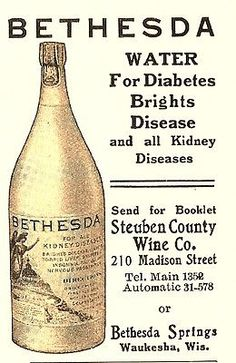 1909 STEUBEN COUNTY WINE CO - BETHESDA SPRINGS, WAUKESHA, WI SPRING WATER AD