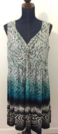 Style & Co. Woman Plus Size 1X Printed Knot-Front Summer Sleeveless Dress…