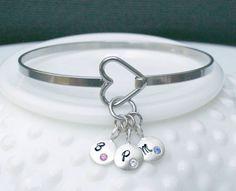 Heart Bangle Bracelet  Birthstone Bangle by 3LittlePixiesShoppe