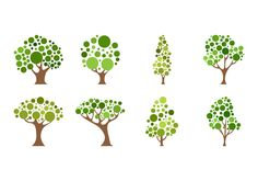 Different kind of cartoon tree icon vector