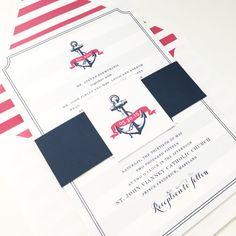 Nautical Wedding Invitation - Monogram Wedding Invitations, Navy, Pink, Belly Band, Stripes, Preppy Wedding Invitations, Cape Cod - ANCHOR