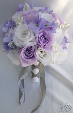 [ Piece Package Wedding Bridal Bride Maid Honor Bridesmaid Bouquet 17 ] - Best Free Home Design Idea & Inspiration Purple Bridesmaid Bouquets, Bride Bouquets, Bouquet Wedding, Lavender Bridesmaid, Lavender Weddings, Bridesmaid Ideas, Lavender Bridal Bouquets, Silk Flower Bouquets, Silk Flowers