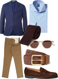 Tan pants / Boglioli Dover Cotton-Blend Honeycomb Blazer / John Lobb Lopez Suede Penny Loafers / Garrett Leight California Optical Hampton D-Frame Acetate Sunglasses / Folk Taylor Leather-Trimmed Woven Belt / Burgundy Donegal Barley Stitch Knitted Tie