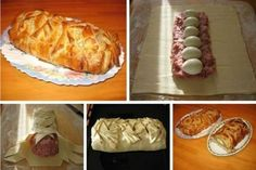 Meatloaf in pastry at home. This is delicious. Ingredients: - 50 g Hungarian Cuisine, Hungarian Recipes, Russian Recipes, Good Food, Yummy Food, Polish Recipes, Meatloaf Recipes, Desert Recipes, Charcuterie