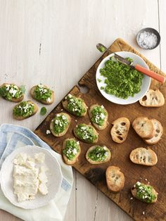 Pea-and-Feta Crostini - Smooth ground peas, mint, and feta cheese create a simple, flavorful topping for crostini. #myplate #vegetables