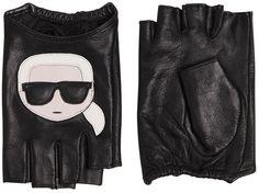"""Karl Lagerfeld Gants Mitaines En Cuir """"K/Ikonik Karl"""""""