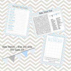 Baby Blue and Gray Baby Shower game pack DIY. $12.00, via Etsy.