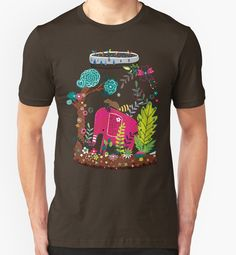 Pink Elephant in Wilderness | Playing in Nature by Gordon White | RedBubble Unisex Brown TShirt | All Sizes Available for Men and Women @redbubble