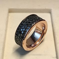 Black Caviar-14k Rose Gold Classic Engagement or by LUXARTJEWELRY