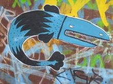 Grafitti Fish on a wall in East Berlin (Mitte), Germany