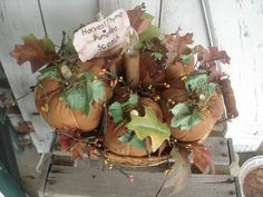Pumpkin Basket Centerpiece Primitive Rustic by YorkiesPrimitives, $34.95