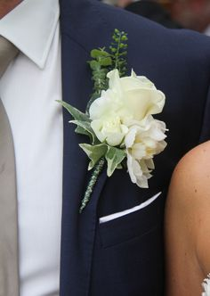 The Groom's White Rose & White Peony Boutonniere