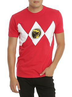 Mighty Morphin Power Rangers Ranger Rojo Traje de la camiseta,