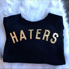 """""""Haters"""" Sweatshirt Sz small. Cutoff design on top. Slightly oversized. Warm and comfy. Clean, Smoke Free Home.  All Sales Final.  Fast Ship! Thanks! Check out my other items!                                                ✨✨✨✨✨15% off bundles✨✨✨✨  **NO TRADES or HOLDS PLZ** **will not reply to """"lowest""""** Forever 21 Sweaters Crew & Scoop Necks"""