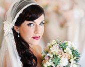 Juliet Cap with Wedding Veil in English Silk tulle, lovely lace edge and Velvet Flower