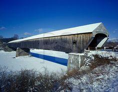 Windsor-Cornish Covered Bridge in Winter - England