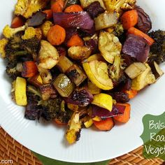 Balsamic Roasted Vegetables --(I'd sub something else for the yellow squash....maybe asparagus? )