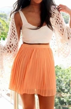 tangerine! Love the style of this skirt with the pleats. I would ditch the sweater and add some better accessories!    # Pin++ for Pinterest #