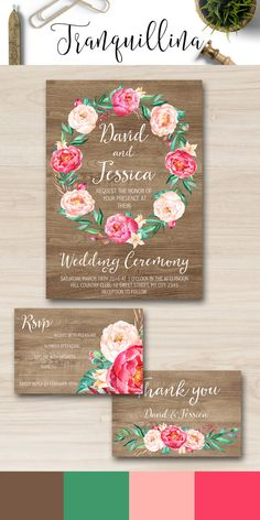 Rustic Wedding Invitation with pink peonies. Printable wedding invitation set. DIY wedding Ideas, Watecolor flowers. Pink and Mint wedding. Boho wedding stationery. For more elegant wedding invitations, check the link: tranquillina.etsy.com